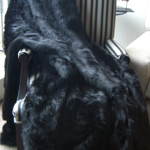 Hotel Luxury Collection Black Diamond Mink Faux Fur Throw
