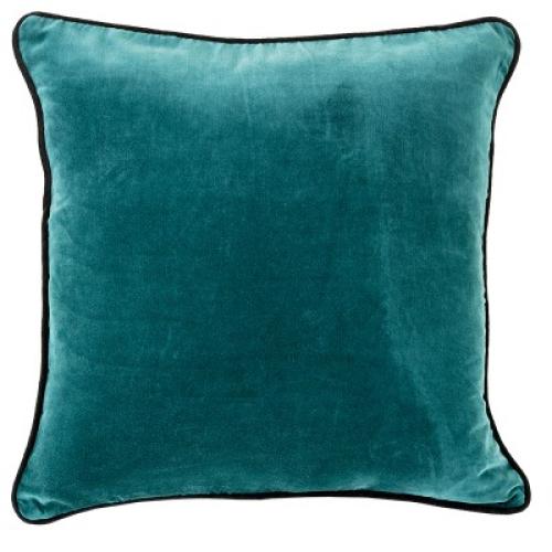 Hotel Luxury Collection Velvet Trim Teal Cushion