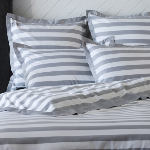 Grey And White Striped Duvet Doona Cover