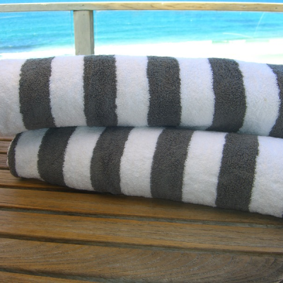 Hotel Luxury Collection Pair Of Silver And White Striped