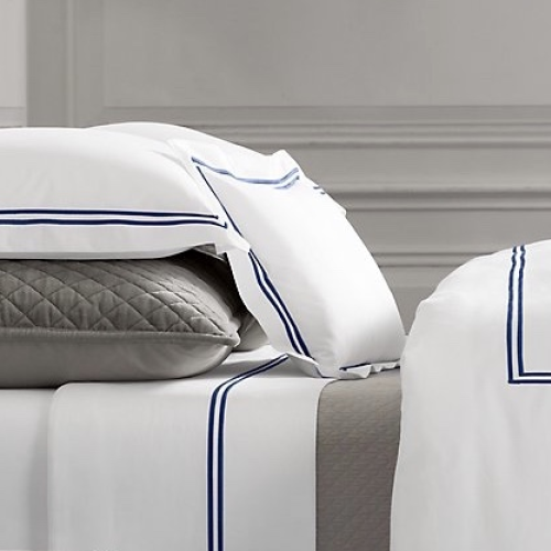 White Sheets With Navy Blue Trim