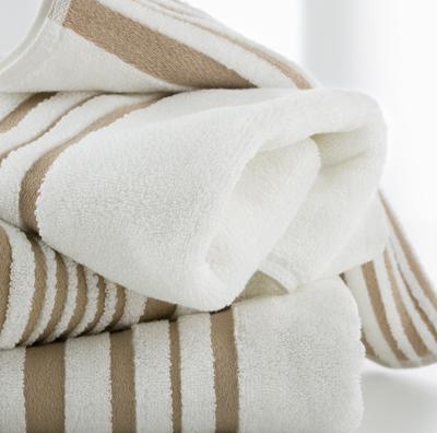 Hotel Luxury Collection Beige And White Striped Face Towels