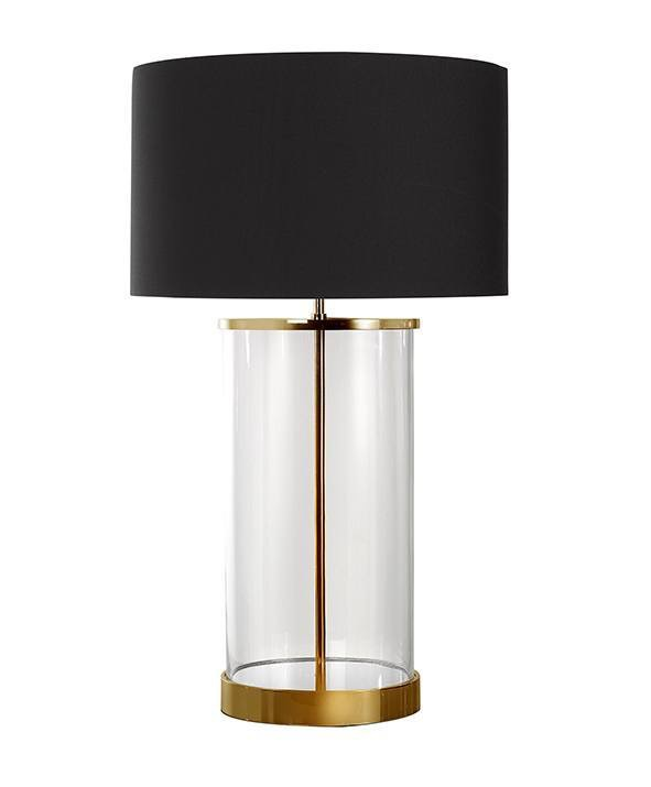 Brass And Glass Table Lamp With