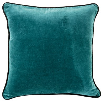 Hotel Luxury Collection Velvet Trim Teal Cushion