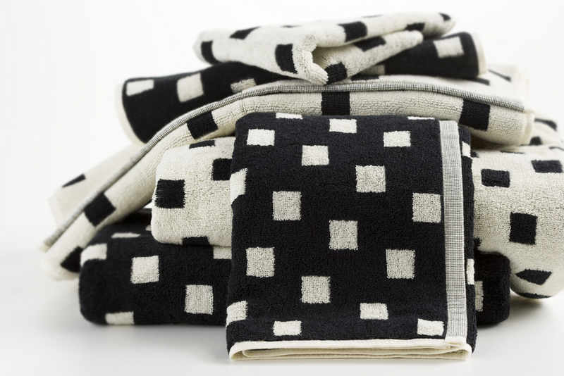 Hotel Luxury Collection Black And Cream Squares Towels From